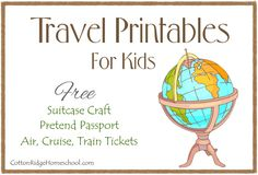 Travel Printables for kids - pretend passport, suitcase craft, pretend travel…