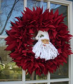 SANTA WREATH  17 Christmas Wreath by TheRightJack on Etsy, $45.00