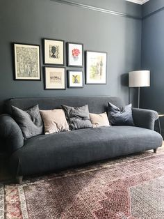 We specialise in affordable interior design across Hampshire, Bournemouth & Poole. We offer flat-fee design packages per room as well as hourly consultancy. Dark Living Rooms, Living Room Paint, Rugs In Living Room, Dark Blue Lounge, Room Interior, Interior Paint, Scandinavian Interior Design, Living Room Inspiration, Room Colors