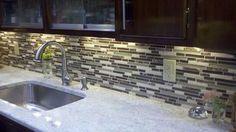 Linear Glass Kitchen Backsplash  kitchen