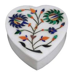 Heart Shaped Decorative Box with Lid White Marble Stoneware Inlay Floral Arrangement Handmade