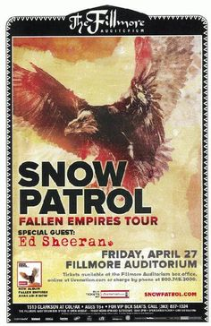 Concert poster for Snow Patrol at The Fillmore Auditorium in Denver, CO in 2012. 11 x 17 inches on card stock.