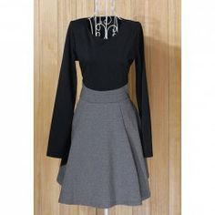 $10.09 Graceful Color Matching Long Sleeved Dress For Women