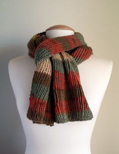 Hand knit unisex scarf, multicolor chunky striped warm scarf, winter scarf, men's winter scarf, striped knit scarf, multicolor knit scarf