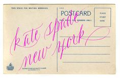 neon type on faded vintage postcards from @katespadeny