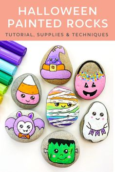 Step-by-step Halloween rock painting tutorial. Learn how to make these cute and easy halloween rocks.