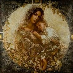 Mother Mary and toddler Jesus - Absolutely Beautiful! Blessed Mother Mary, Blessed Virgin Mary, Jesus Mother, Queen Mother, Baby Jesus, Catholic Art, Religious Art, Religious Icons, Jesus E Maria