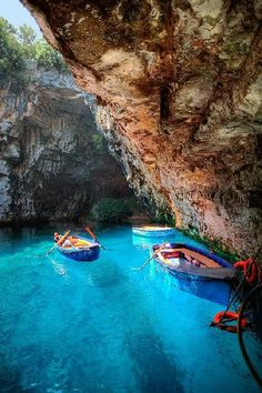 Turquoise Cave - Melissani Lake, Greece.