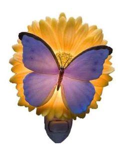Blue Butterfly & Gerber Daisy Night Light