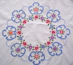 Vintage white cotton tablecloth with floral cross stitch embroidery hand embroidered flowers table cloth – Handwerk und Basteln Cross Stitch Borders, Cross Stitch Flowers, Cross Stitch Kits, Cross Stitch Patterns, Hardanger Embroidery, Cross Stitch Embroidery, Hand Embroidery, Embroidered Towels, Le Point
