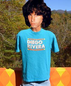 vintage 80s t-shirt DIEGO RIVERA art philadelphia by skippyhaha