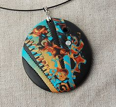 handmade polymer clay fimo and sculpey pendant - 09C12