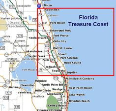 Map Of Florida Showing Treasure Coast Google Search Beaches Travel