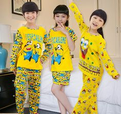 2016 spring Summer minion Babys Sleepwear Girls Clothing Children's Clothes Boys Pyjamas Underwear minion kids pajama sets //Price: $US $9.57 & FREE Shipping //     #woman