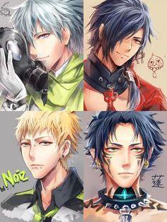 dramatical Murder, 4 perso très bien dessiner ( Clear, Koujaku, Noiz et Ren ) Hot Anime Guys, I Love Anime, Anime Boys, Manga Art, Manga Anime, Nitro Chiral, Manhwa, Dramatical Murder, Anime Nerd
