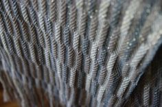 handwoven scarf, glittering yarn in the warp.