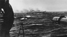 Sinking of the Bismarck: taken from heavy cruiser HMS Dorsetshire on 27 May 1941, this picture shows the German battleship sinking by the stern. Dorsetshire finished her off with torpedoes once battleships HMS King George V and HMS Rodney had battered her to pieces after she had been rendered unsteerable by torpedo bomber attack.