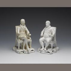 Bonhams 1793 : William Pitt (1759-1806); Charles James Fox (1749-1806) Parian ware seated statues, Minton, circa 1830