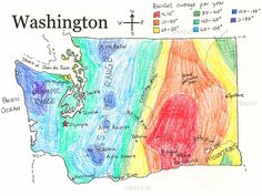 Washington Average Annual Rainfall Map - Printable