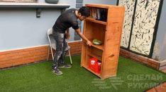 Мастер показал, как сделать деревянный стеллаж с выдвижным столиком Table Furniture