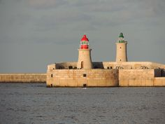 Breakwater towers, Grand Harbour, Valletta, Malta