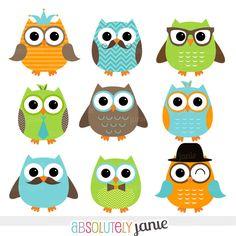 Boy Owl Orange Green Blue Digital Clipart  by AbsolutelyJanie