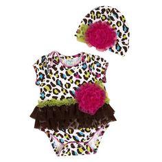 Peaches n Cream Baby Girl 24M Colorful Leopard Print Bodysuit Hat Set $52.99