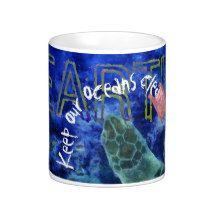 Clean Ocean Sea Turtle Art Coffee Mug by Nola Lee Kelsey