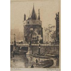 Artist: Hendrikus Elias Roodenburg (Dutch, 1895-1987). Title: Amsterdam. Medium: Etching