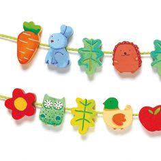 Houten figuurtjes rijgen 'Filanature' | Speelgoed Kiki
