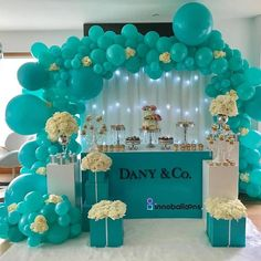 Image in ballon 🎈 🎊 collection by ‍princess Rose Tiffany Birthday Party, Tiffany Party, Birthday Parties, Balloon Decorations, Birthday Party Decorations, Wedding Decorations, Baby Shower Themes, Baby Shower Decorations, Deco Ballon