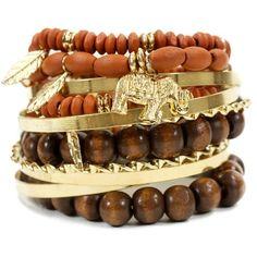Bead And Metallic Bracelet Set ($5.99) ❤ liked on Polyvore featuring jewelry, bracelets, accessories, pulseiras, brown, bracelet sets, leaf bracelet, stretch charm bracelet, charm bangle and bead charm bracelet