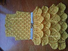 Vestido infantil feito em crochê com saia de babados Parte 2