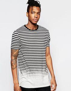 Imagen 1 de Camiseta larga a rayas en tejido moteado desteñido de ASOS