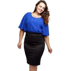 """Plus Size Dress w/Batwing Sleeves & Gold Necklace NWT. Look incredibly sophisticated and perfectly put together with Stylzoo's Plus Size Black and Blue Dress with Batwing Sleeves. Includes a detachable gold necklace to compete your look! Features a back zipper for ease of wear.   SIZE GUIDE:  1X: 14-16W, 34-37"""" waist, 43-47"""" hip, 41-44"""" Bust.  2X: 18-20W, 38-41"""" waist, 47-50"""" hip, 45-48"""" Bust.  3X: 22-24W, 42-45"""" waist, 50-54"""" hip, 49-52"""" Bust.   Made in USA.   95% Polyester, 5% Spandex…"""