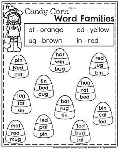 Fall Kindergarten Worksheets - Candy Corn Word Families. Homeschool Kindergarten, Kindergarten Worksheets, Kindergarten Reading, Teaching Reading, Homeschooling, Learning Activities, Kids Learning, Rhyming Activities, Informational Writing