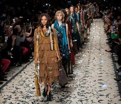 Warm, autumnal colors were more present at London Fashion Week (seen here on the Burberry runway). Photo by  Ian Gavan/Getty