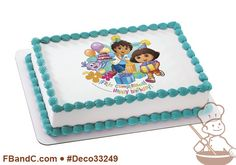Deco33249 | DORA EXPLORER FELIZ CUMPLEANOS PC IMAGE | Nickelodeon, Diego, Boots, party, balloons, presents.