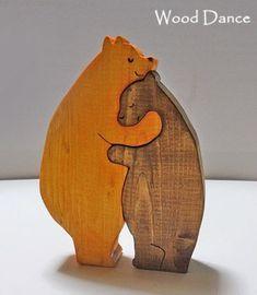 名入れもできる★ハグする黄色いクマの夫婦の可愛い木製組み木ケーキトッパーパズル雑貨 - ケーキトッパーとウェディングドールの通販店|オリジナルデザイン組み木雑貨のwooddance(ウッドダンス) #woodworking