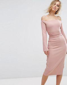 #ASOS - #Lost Ink Lost Ink Midi Dress With Split Sleeves - Pink - AdoreWe.com