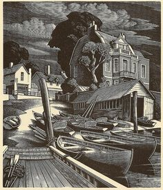 Poltergeist — The Ferry - wood engraving by George Mackley, 1951...