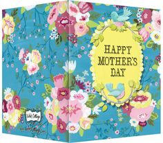 Happy Mother's Day pink, blue and yellow flowers with little blue bird greeting card.  Blank inside. Available retail or wholesale:    http://www.violetcottage.com/mother-s-day/278-mother-s-day-card-blank-inside-blue-pink-flowers-with-birds.html