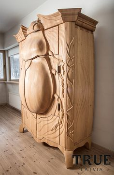 Nature inspired storage cabinet made by Latvian designer Janis Straupe looks like a giant beetle.