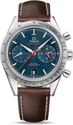 Speedmaster '57 Omega Co-Axial Chronograph 41.5mm.This model features a PVD blue dial with a seconds sub-dial at 9 o'clock and a 12-hour and 60-minute chronograph recorder on the sub-dial at 3 o'clock. There is a central chronograph seconds hand and a date window at the 6 o'clock position. A scratch-resistant sapphire crystal protects this bold dial. The brushed bezel, with its tachymeter scale, is mounted on a 41.50 mm stainless steel case and presented on a brown leather strap.