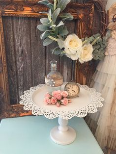 White Wedding Cake Stand Shabby Cottage Chic by FarmHouseFare