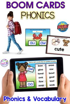 BOOM CARDS | Boom Cards first grade | Boom Cards second grade | Technology in the Classroom Elementary | ELA Activities | This set of 242 Boom Cards helps students master vowel teams, digraphs and diphthongs that correlate with 1st & 2nd grade CCSS. Self-checking and no prep! #BTS #backtoschool #literacycenters #TeacherFeatures #ELA #BoomCards #BoomLearning #phonics #boomcardsfirstgrade