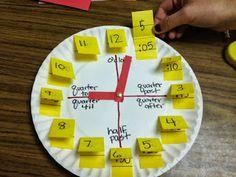 Con platos de plástico podemos crear un reloj para aprender las horas en clase.