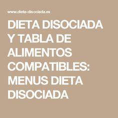 DIETA DISOCIADA Y TABLA DE ALIMENTOS COMPATIBLES: MENUS DIETA DISOCIADA