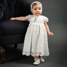 Girls Christening Dress - Lola Christening Dress & Bonnet or Headband