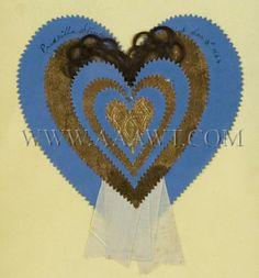 Antique Love Token, Priscilla Struff, Paper and braided hair, close up